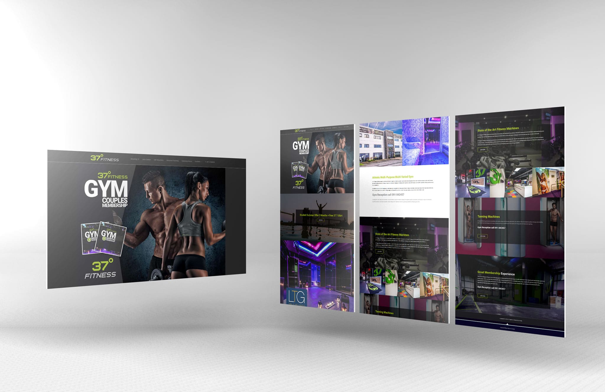 fitness website screens mockup