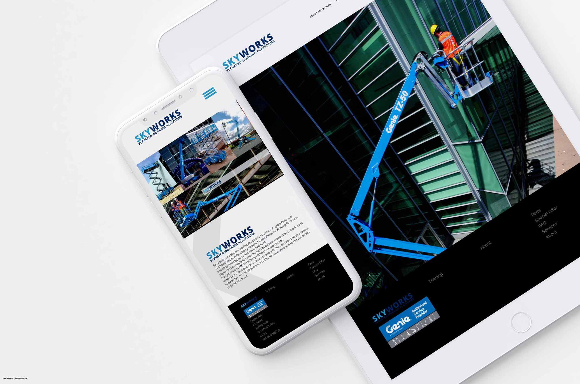 adaptive website layout on mobile for Dublin business Skyworks