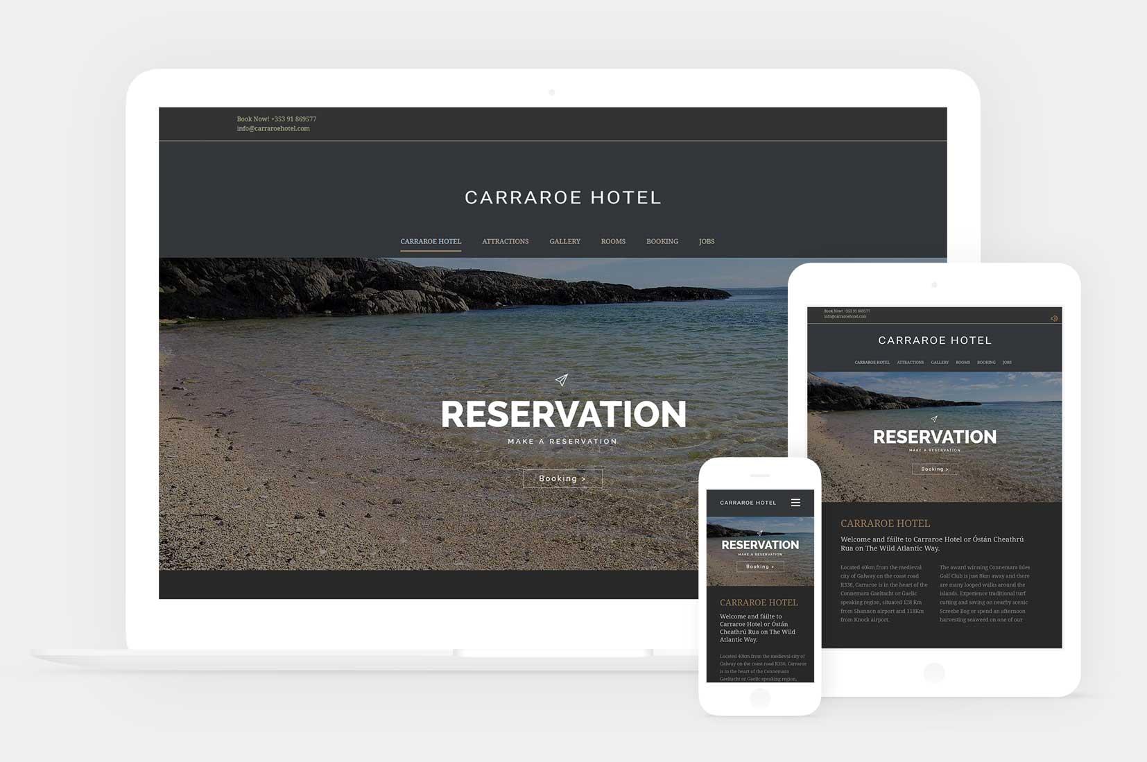 Wordpress based website design for carraroe hotel