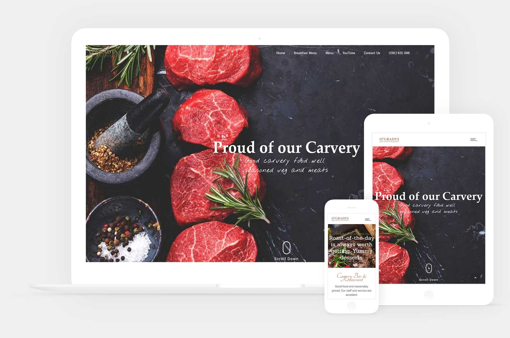 Web design for o gradys bar restaurant gort