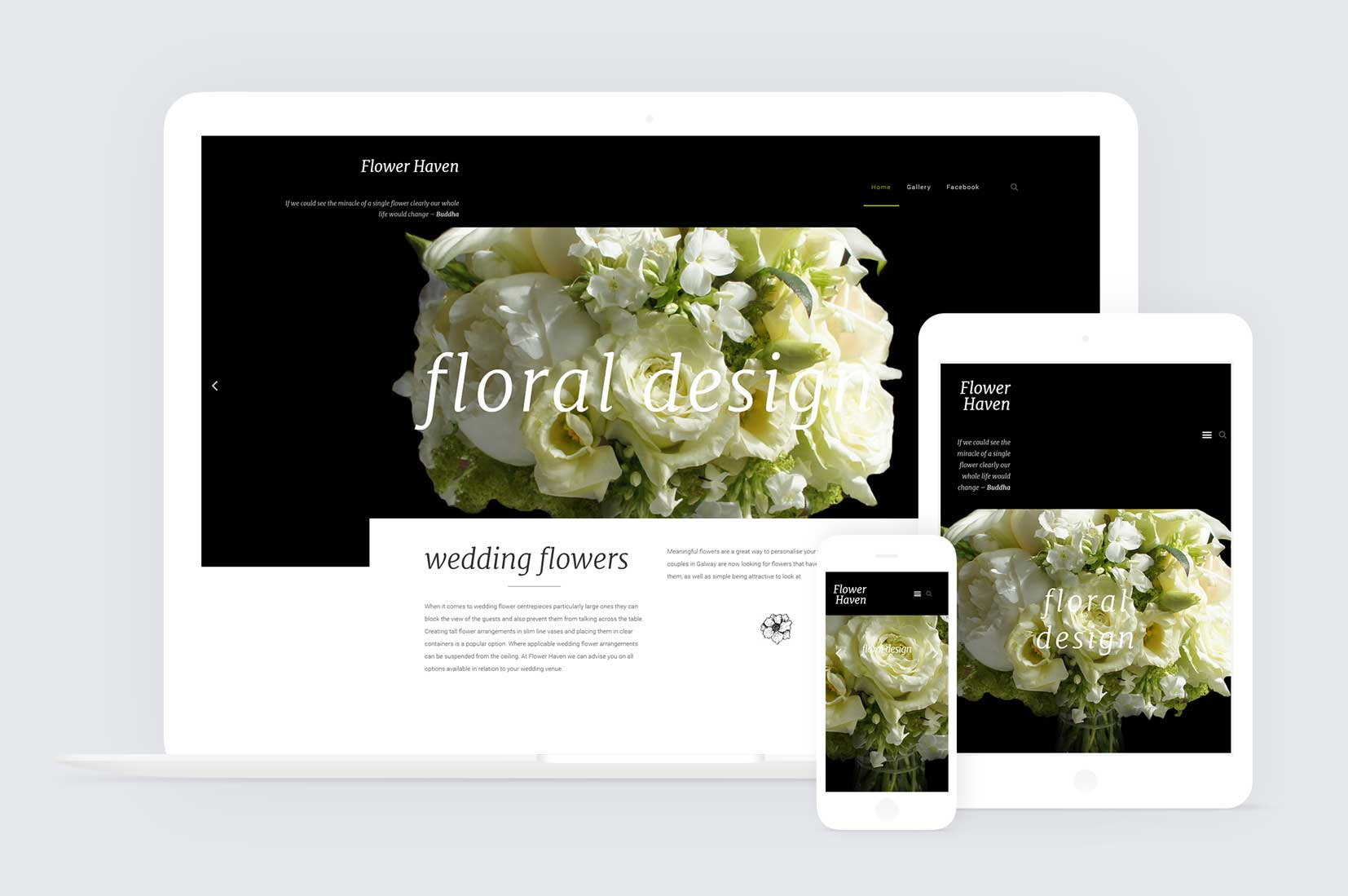Web design for flower haven oranmore
