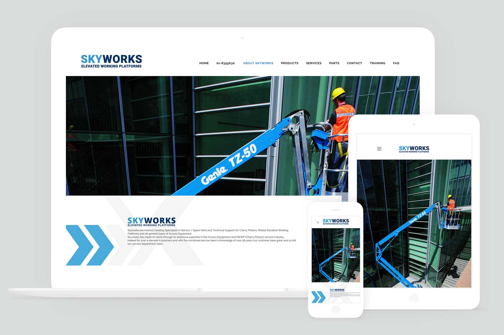 Brochure Website Design For Skyworks Elevated Platforms