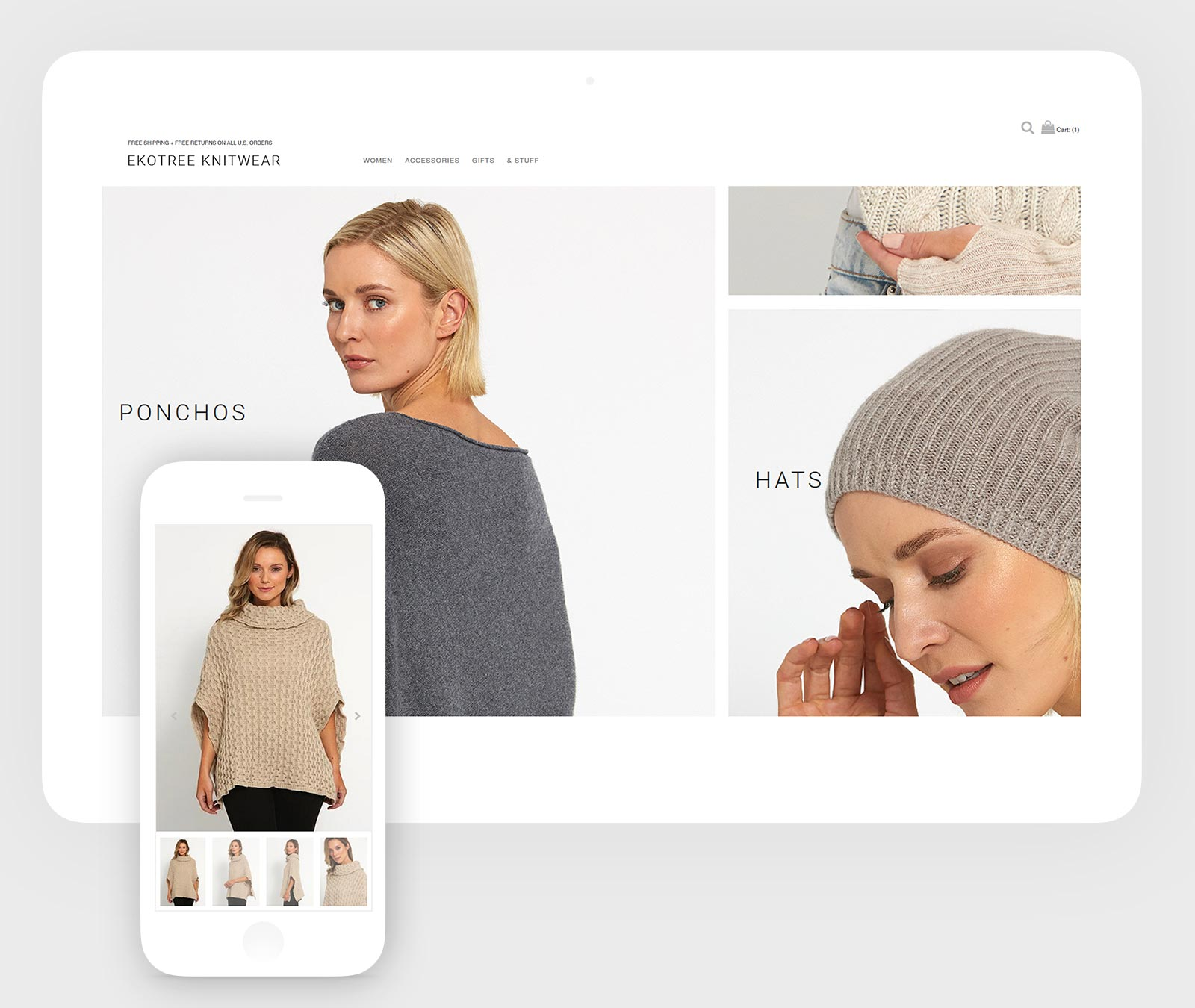 Layout design on mobile and tablet showing products page