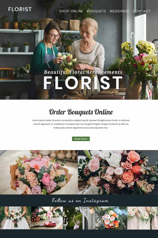 Florist Website Template Design