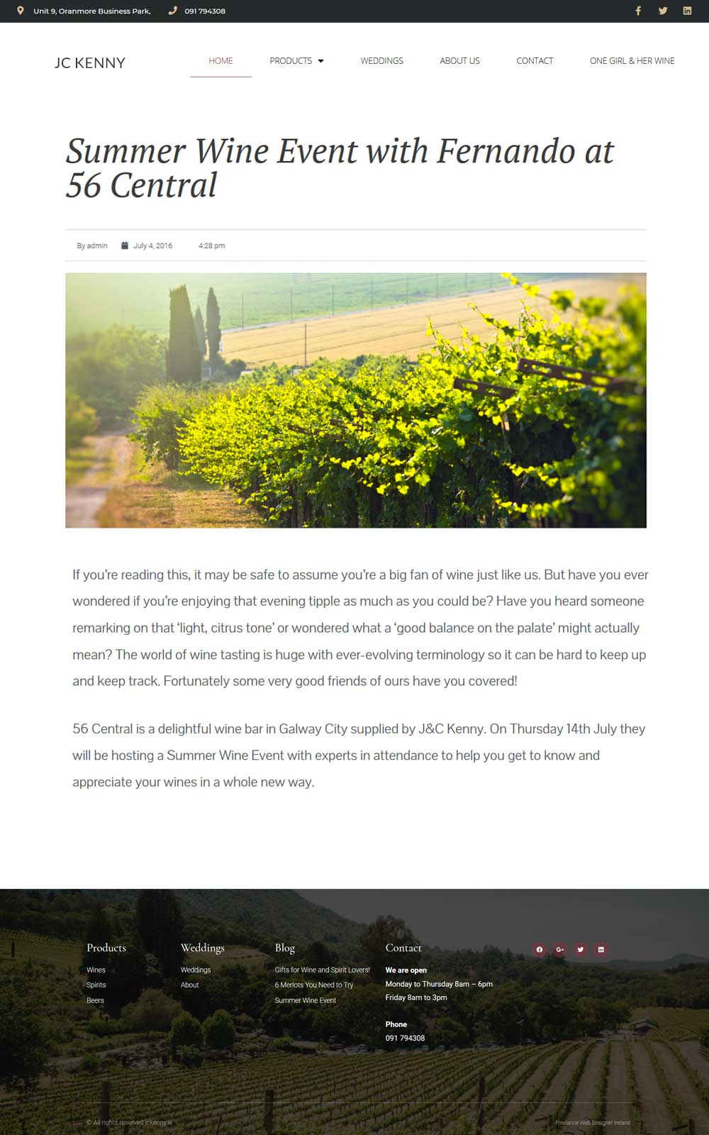 We created a minimal blog page layout