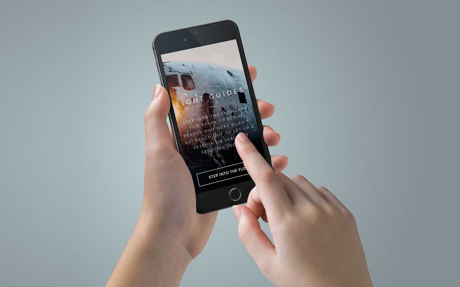 Mobile User Interacting With Smartphone Page Design