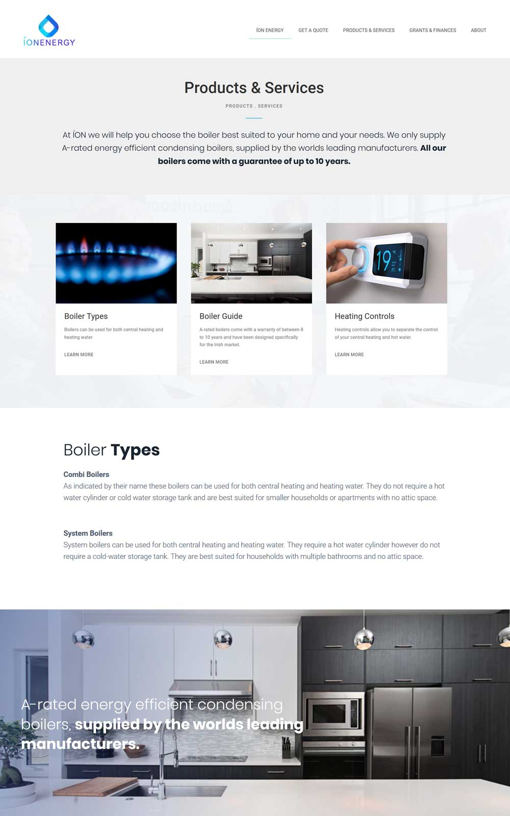 Layout design for the products page
