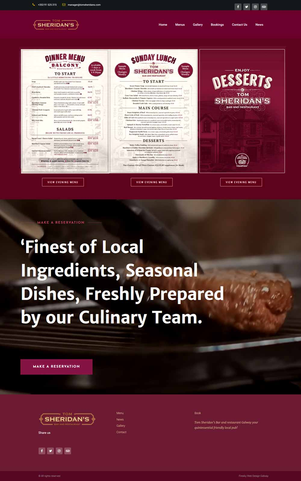 Website Design For Restaurant 1