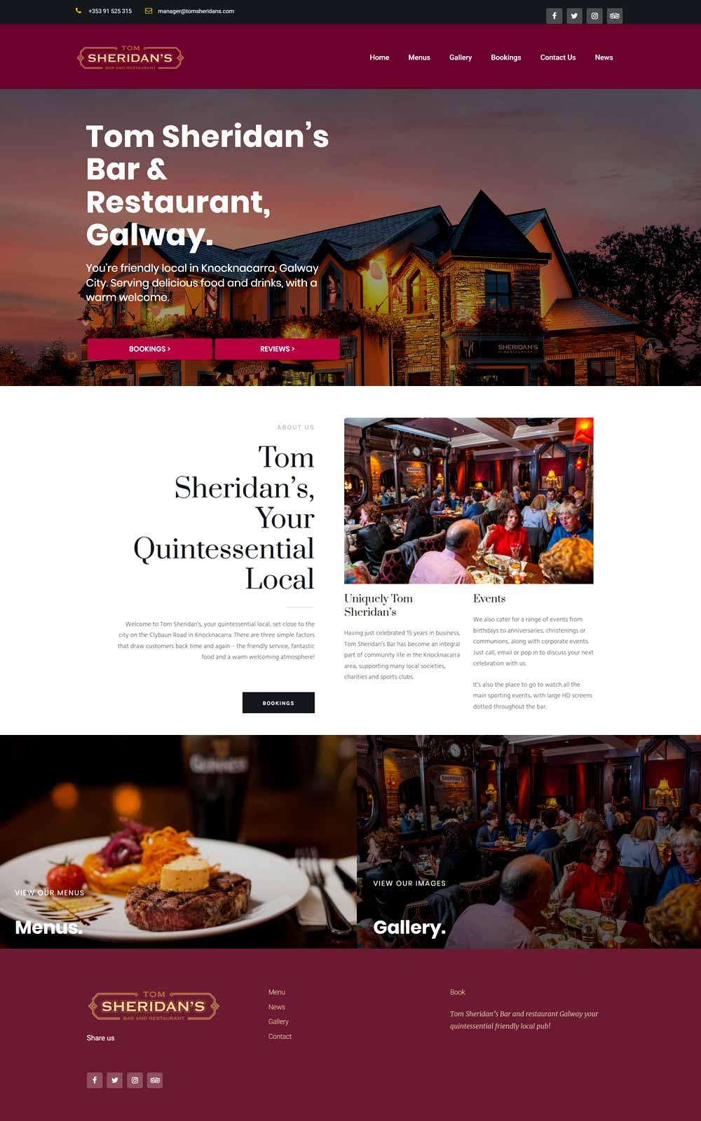 Front page design for sheridans restaurant