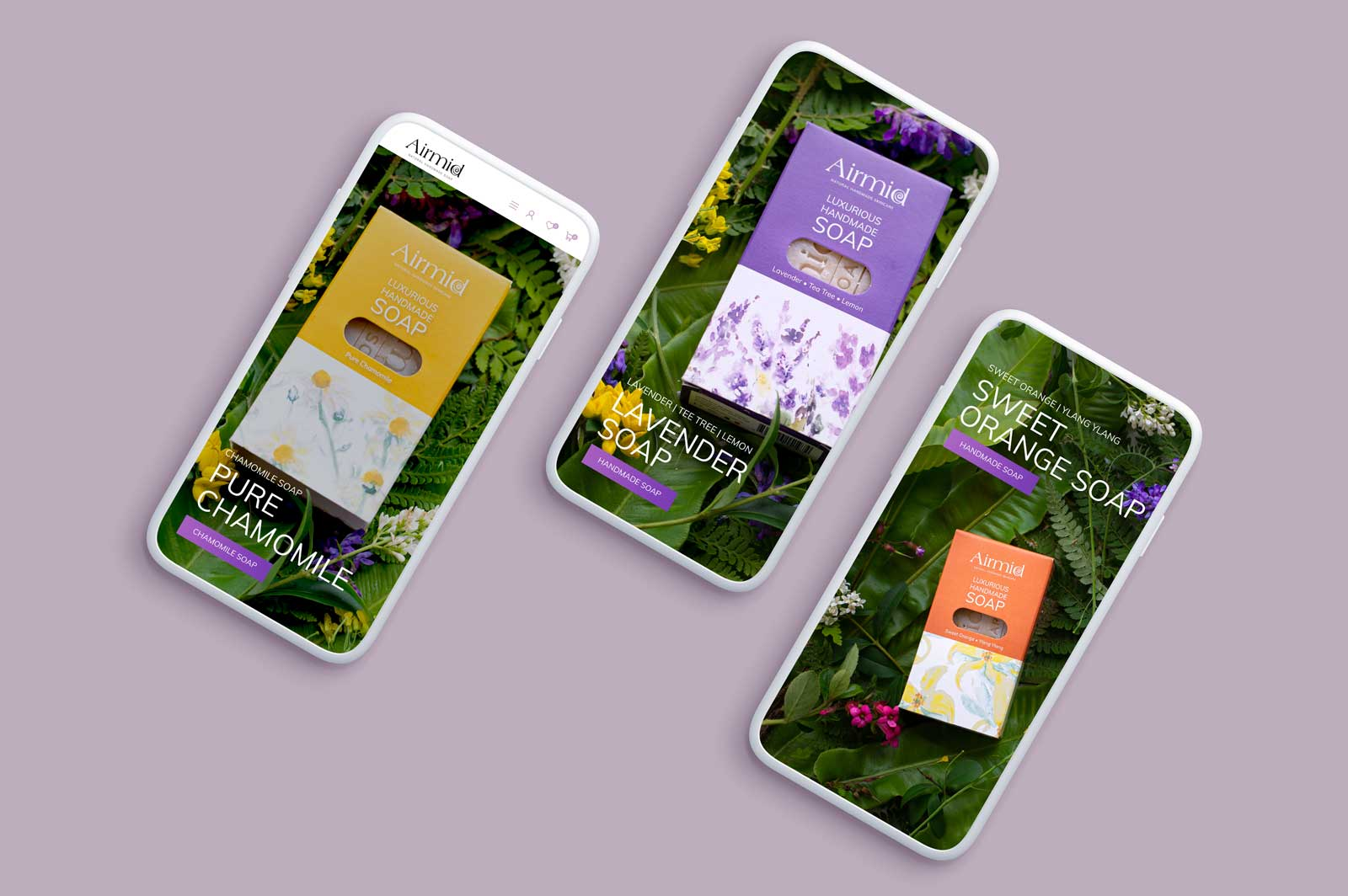 Brand Photography Display On Three Smart Phones