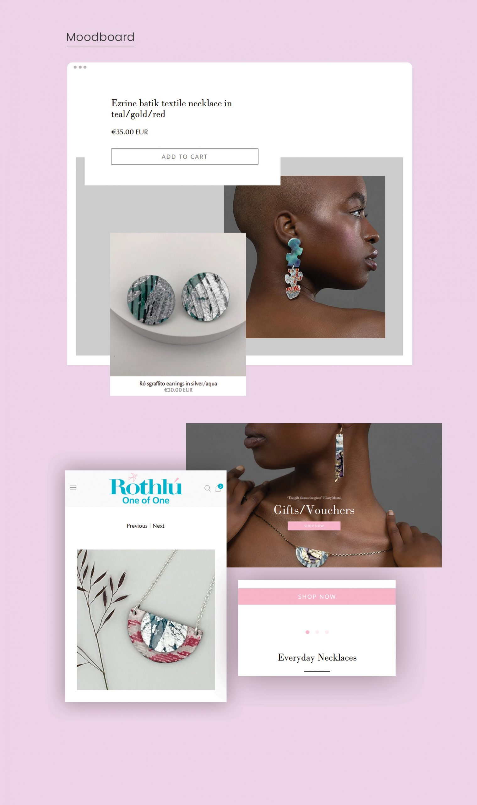 Mood Board Visual Elenents For Jewellery Store