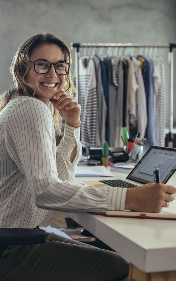 Female entrepreneur in her business studio