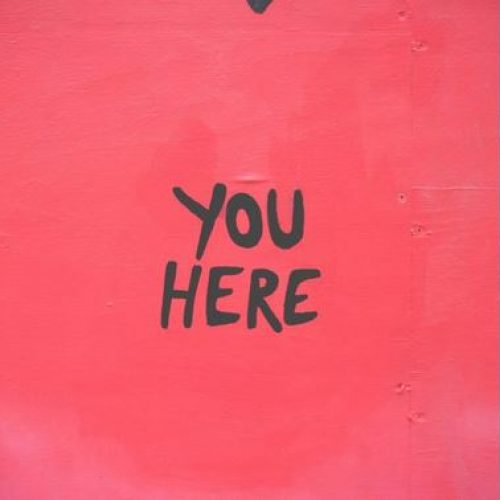 you are here black on red